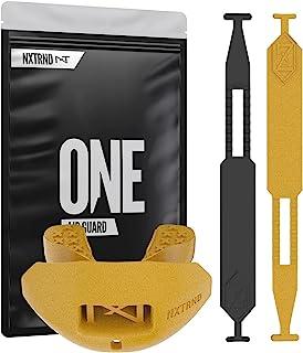 Nxtrnd One 足球护齿套 护齿套 足球护齿套 青少年足球护齿套 儿童和成人 1 个盒子和 2 个带子 兼容护套