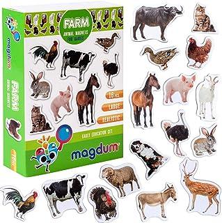 MAGDUM 农场照片真实动物磁贴 儿童用真正的大号冰箱磁贴 - 磁性教育玩具 婴儿 3 岁宝宝学习磁铁 儿童磁贴 - 磁性戏剧