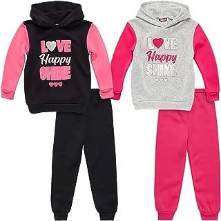 Angel Face 女童运动服套装 - 羊毛套头连帽衫和慢跑运动裤套装(4 件)