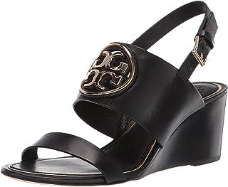 Tory Burch 女式黑色皮革米勒金属坡跟鞋(美码 7.5 码)
