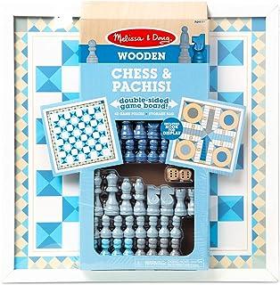 Melissa & Doug 木制象棋和帕奇西斯-蓝色