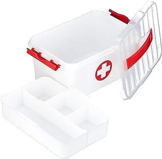 Relaxdays 药盒,插入夹层,急救箱,塑料,高宽深:21x30x14.5 厘米,白色