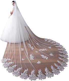 EllieHouse 女式 1 层大教堂蕾丝婚礼新娘面纱带金属梳 X49