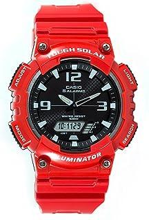 Casio 卡西欧 #AQ-S810WC-4AV 男式红色太阳能模拟数字世界时光运动手表