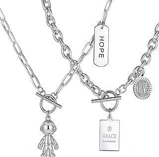 17 MiLE 4 件套银色分层长链项链套装男女时尚朋克蛋形链锁和钥匙吊坠回形项链首饰礼品