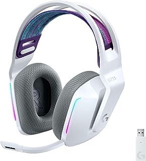 Logitech 罗技 G733 LIGHTSPEED 无线游戏耳机,带悬挂头带,LIGHTSYNC RGB,蓝色 VO!CE 麦克风技术和 PRO-G 音频驱动器 - 白色