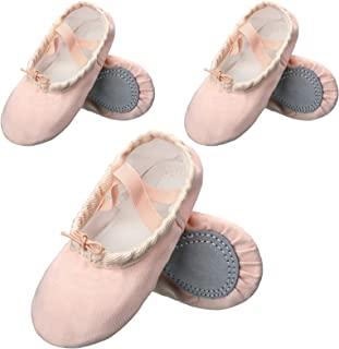 3 双装女童帆布芭蕾舞鞋全底芭蕾舞鞋平底鞋瑜伽舞鞋适合幼儿儿童