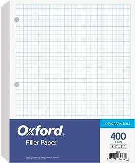 """Oxford 填充纸,8-1/2"""" x 11""""(约21.59 x 27.94厘米),4 x 4 图纸规则,3 孔穿孔,3 环活页纸,每包 400 张(62360)"""