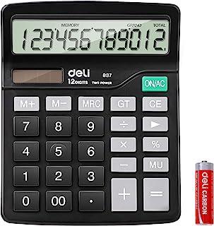 计算器,Deli 标准功能桌面基本计算器,12 位数大型 LCD 显示屏,太阳能电池双电源办公室计算器,黑色