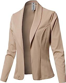 女式休闲工作纯色 3/4 抽褶袖单扣弹力针织外套
