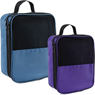海洋蓝紫色鞋袋可容纳 3 双鞋子,适合旅行配饰,带背带 2 包鞋袋,适合女士男士