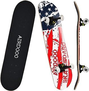 Airdooo 31 x 8 完整标准滑板,适合初学者,完整滑板枫木双踢凹面,专业滑板炫酷设计