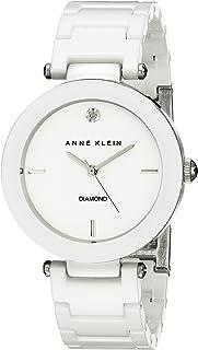 Anne Klein AK / 1019WTWT 女士镶钻陶瓷手链手表,White,均码