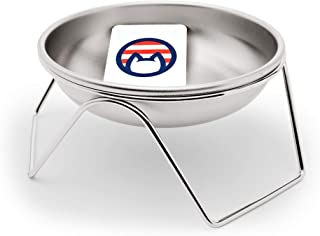 Americat Company 不锈钢猫碗 + 高架支架 – 美国制造,美国制造 – 防止猫粮和水的碗架(碗 + 支架)