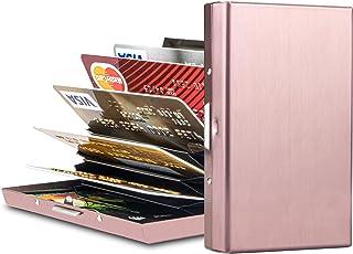 金属 RFID 屏蔽信用卡夹钱包,超薄*不锈钢卡包 ID 保护套 旅行钱包女士男士* 8 个卡槽 玫瑰金