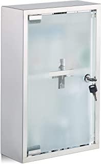 Relaxdays 不锈钢药柜,玻璃门,2个隔层,可锁定,药柜,光泽,高宽深:40 x 25 x 11 厘米,银色