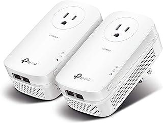 TP-Link AV2000 电力线适配器 - 2 个千兆端口,以太网供电,即插即用,节能,2x2 MIMO,噪音过滤,其他设备额外电源插座,非常适合游戏(TL-PA9020P KIT)