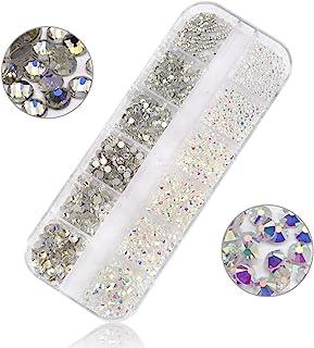 1440 件 2 种颜色 6 种尺寸 1.6 毫米至 4 毫米水钻平背带存储容器 AB 颜色人造宝石圆形玻璃水晶混合美甲艺术(透明 AB + 月光)