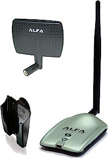 Alfa AWUS036NH 2000mW 2W 802.11g/n 高增益 USB 无线 G/N 远距离 WiFi 网络适配器,带 5dBi 旋转橡胶天线和 7dBi 面板天线和吸盘/翻盖窗安装