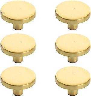 BINO 6 个装橱柜把手 - 直径 1.22 英寸(31 毫米),梳妆台把手,适用于梳妆台抽屉把手和拉手把 黄铜色 24417-BRA