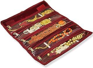 Profynd 珠宝悬挂可折叠卷,适合家庭组织旅行   珠宝项链手表收纳盒   天鹅绒卷起收纳盒配饰袋   送给女士她的礼物   红色