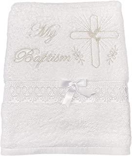 粉色公主 - 白色洗礼毛巾男女适用 - * 纯棉适*为教堂礼物LDS