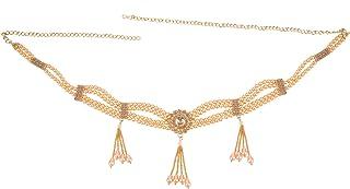 Efulgenz 印度宝莱坞复古镀金腰带腰链 荷叶链 Kamarbandh 新娘吊坠流苏身体饰品