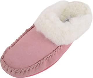 SNUGRUGS 女式奢华羔羊毛麂皮拖鞋,带橡胶鞋底