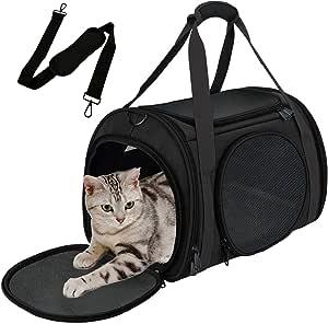 猫背带,宠物背带,适合小型中型猫狗小狗,航空公司批准,5 个通风网,4 门,双*拉链,可折叠面料(全黑色)
