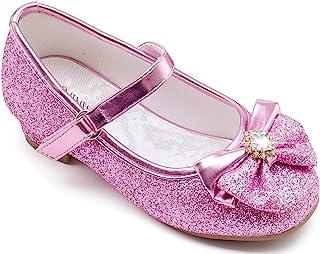Furdeour 女童正装鞋 Mary Jane 婚礼花伴娘高跟闪光公主鞋适合儿童幼儿