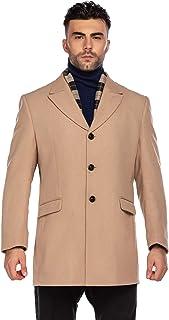 COOFANDY 男式羊毛混纺外套可拆卸围巾单排扣风衣冬季保暖豌豆大衣羊毛夹克