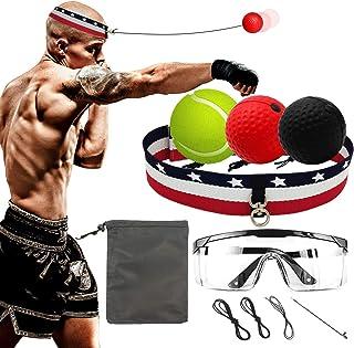 MILACHIC 拳击反射球*拳击球 3 个难度级别,带头带和护目镜,适合成人和儿童的拳击速度,手眼协调训练和释放压力