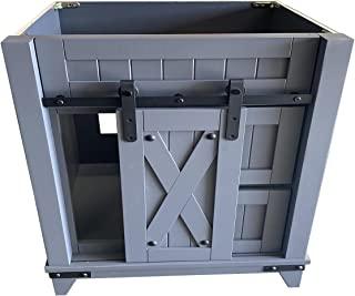 30 英寸(约 76.2 厘米)灰色浴室梳妆谷仓门风格 RTA 橱柜 - 右抽屉