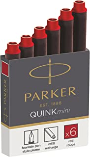Parker 派克 1950408 Quink 钢笔 适用于钢笔 短笔芯 6 件装 红色墨水