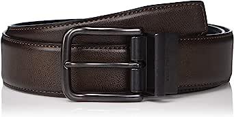 Perry Ellis 男式组合休闲棕色双面皮带 35 毫米
