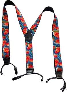 HOLDUP 品牌 dual-clip 拼贴 OF 颜色图案背带带防滑夹