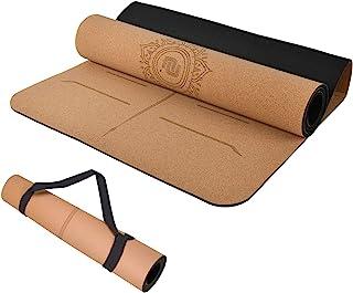 Numat Cork/TPE 双面瑜伽垫 6 毫米厚 72 x 26 英寸(约 182.88 x 66.04 厘米),防滑健身垫,带对齐线,宽肩带,适合热瑜伽、普拉提、健身房和锻炼