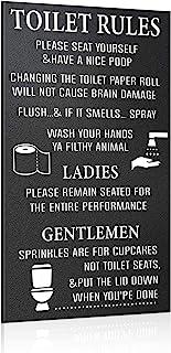 Jetec 浴室木制标牌装饰卫生间规则标志搞笑浴室装饰请自己坐下木制浴室标志 洗手双手悬挂墙艺术家居浴室装饰,13.79 x 8.67 英寸