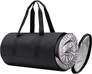 SELUGOVE *泡沫卷帘床垫露营床垫旅行包,黑色耐用面料,可存放便携式泡沫睡垫,手柄,可拆卸防水拉链套。