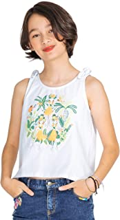 M.D.K 女童无袖蝴蝶结肩部夏威夷图案 T 恤背心露脐上衣