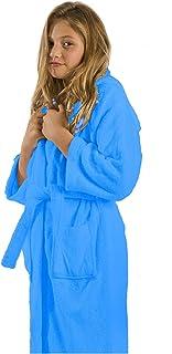 超细纤维连帽浴袍中性款长袍浴袍,适合女孩、儿童、青少年