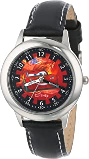 Disney Kids' W000092 Cars Stainless Steel Time Teacher Watch with Leather Band