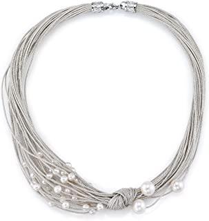 5-6mm 正品白色淡水养殖珍珠耶稣颈项链 女式