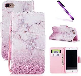 iPhone 6 手机壳4.7 英寸,iPhone 6s 手机壳LEECOCO 独特 3D 印花钱包手机壳卡现金夹带腕带【支架】优质 PU 皮对开翻盖手机壳 iPhone 6S HX] Pink Sand HX