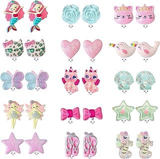 EleMirsa 15 对夹式耳环适合小女孩儿童幼儿派对礼品公主装扮游戏耳环独角兽心形珠宝套装 B