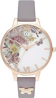 Olivia Burton 女士模拟石英手表皮革表带 OB16EG129