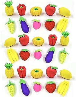 Dreamm 30 件装水果蔬菜橡皮擦 儿童拼图 迷你什锦铅笔橡皮擦 适用于学校教室*品 派对礼品