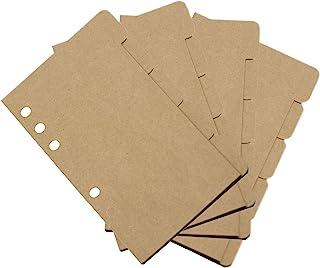 Biynpbe 4 套纸活页夹分隔索引标签项目分类页适用于 A6 尺寸 6 孔活页夹笔记本/规划/旅行日记日记(棕色)