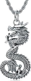 Cekama 粗糙动物项链 男士 标准纯银哑光氧化吊坠项链 哥特式复古纹理不锈钢绳链 60.96 厘米