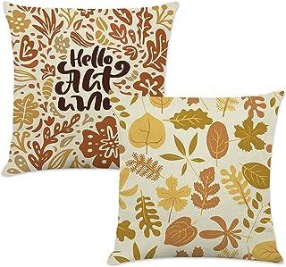 秋季水彩枫叶抱枕枕套 45.72 x 45.72 cm,Hello Autumn Thanksgiving Farmhouse 亚麻靠垫套沙发装饰枕套